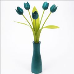 5 turquoise Tulips with 3 green leaves with matching turquoise 'cool' vase